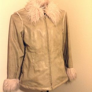 Faux Fur Jacket pleather distressed super warm